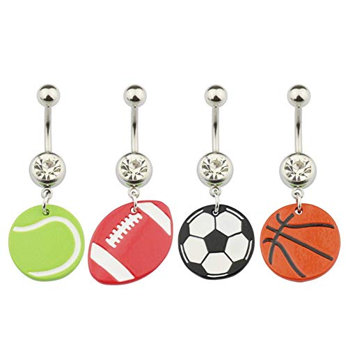4Pcs 14G Tennis Rugby Football Basketball Navel Rings for Women Girls Stunning Belly Button Rings Clear CZ Body PiercingJewelry (Ball)