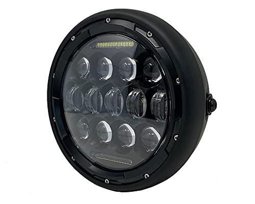 Proiettore Moto LED Faro 7.6' Cafe Racer Retro Scrambler Matt Nero