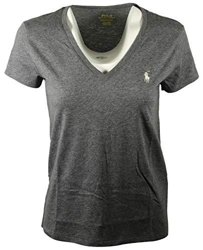 Polo Ralph Lauren Damen T-Shirt, V-Ausschnitt, Jersey - Grau - Mittel
