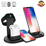 Wireless Charger, Botee 6 in 1 Wireless Charging Dock for iPhone X/Xs/7ps/7/6s/8/8Plus/i-Watch/AirPods, Qi Fast Wireless Charging Stand Compatible for iPhone Samsung [2019 Upgrade] (Black)
