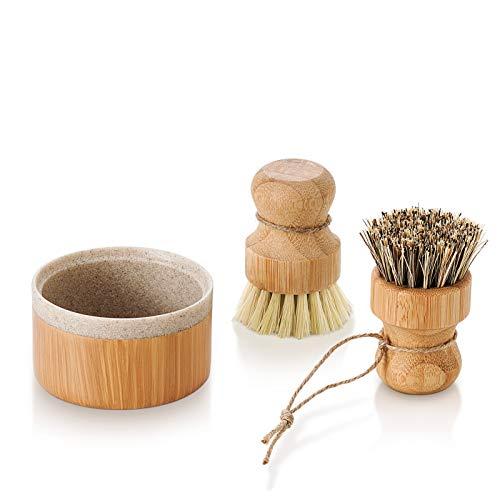 SUBEKYU Bubble Up Bamboo Dish Brush Set with Soap...