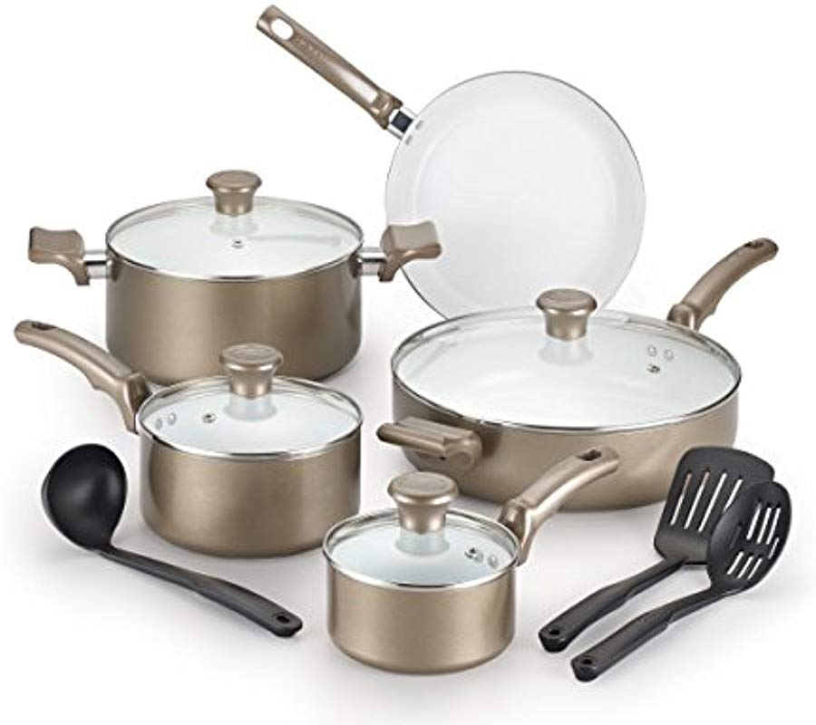 T Fal C991SE Ceramic Chef Cookware Set 12 Piece Champagne