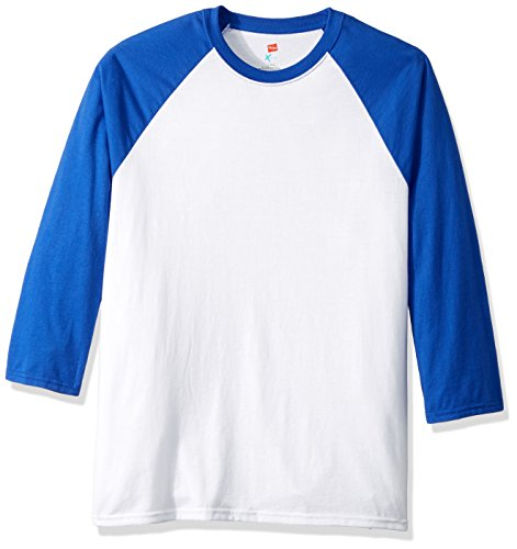Hanes Men's X-Temp Raglan Baseball Tee, White/Royal Blue, 3X-Large