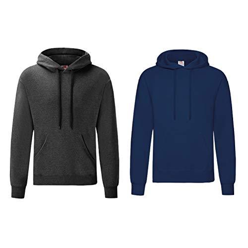 Fruit of the Loom Herren Hooded Sweat Sweatshirt (S, 1 DarkHeather/ 1 Navy)