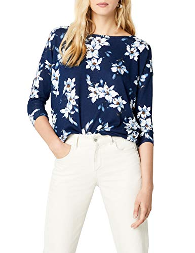 ONLY NOS Damen Pullover Onlelcos 4/5 Aop Top Jrs Noos, Grau (Night Sky Aop:Night Sky With White Flowers), 36 (Herstellergröße: S)