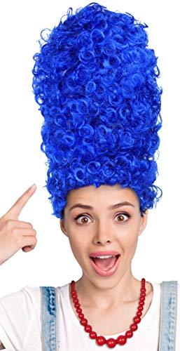 Balinco Blaue Cartoon Perücke + Rote Perlenkette - die perfekten Komponenten für Ihr Cartoon Kostüm