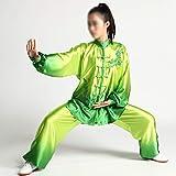 Traje De Tai Chi Mujeres Uniformes, El Arte Marcial Chino Wushu Taiji Wing Chun, Ropa para Hacer Ejercicio Transición De Color Gradiente De Shaolin Kung Fu De Manga Larga Set,Verde,S
