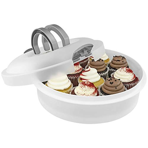 3-in-1 Plastic Cake Holder - Southern Homewares - Container for Cakes, Pies, Cupcakes, Muffins Dessert Carrier
