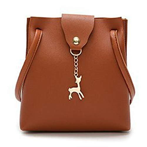 N / E DeerWomen - Bolso de mano para mujer, estilo vintage, suave, de color sólido, portátil, bolsa de almacenamiento con correa ajustable