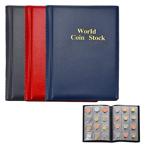 FAVENGO 3 Pcs Album Monedas Coleccion Libro para Coleccionar Monedas 360 Bolsillos Libros de Monedas Fundas Numismatica Monedas Hojas para Monedas Funda Estuche Cuero para Monedas 2 Euros Centavos