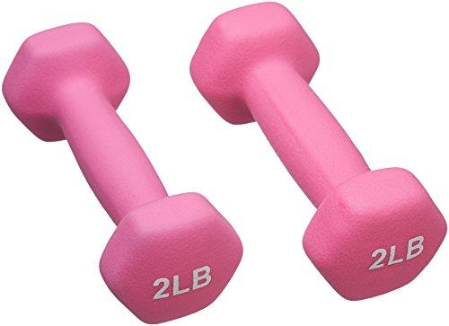 AmazonBasics 2 Pound Neoprene Dumbbells Weights - Set of 2, Pink