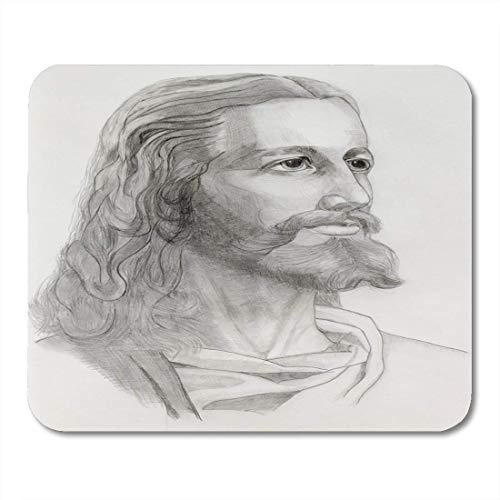 Mauspads Grau Porträt Schwarz Christus Grau Bleistifte Zeichnung von Jesus Weißes Gesicht Holy Mouse Pad für Notebooks, Desktop-Computer Mausmatten, Büromaterial