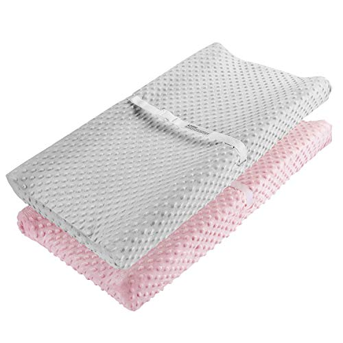Changing Pad Cover, AceMommy Ultra Soft Minky Dots Plush Changing Table Covers Breathable Changing Table Sheets Wipeable Diaper Changing Pad Cover for Infants Baby Girl Pink/Grey (2 Pack)