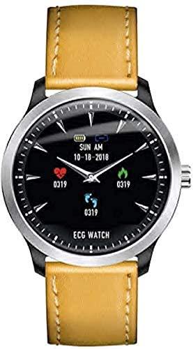 KLT Fitness-Tracker, präzise Smartwatch, Schrittzähler, Entfernungsmesser, Kalorienzähler, EKG, Schlafmonitor, Herzfrequenzmesser, kompatibel mit iOS und Android (Farbe: schwarzer Stahlstreifen)