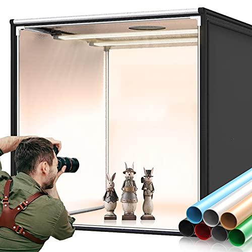 FOSITAN Fotostudio Bi-Color 90 cm - Tenda luminosa portatile con 252 perline LED, 360 gradi, 2600-8500 K (± 200 K), CRI 92+, 7 sfondi di colore