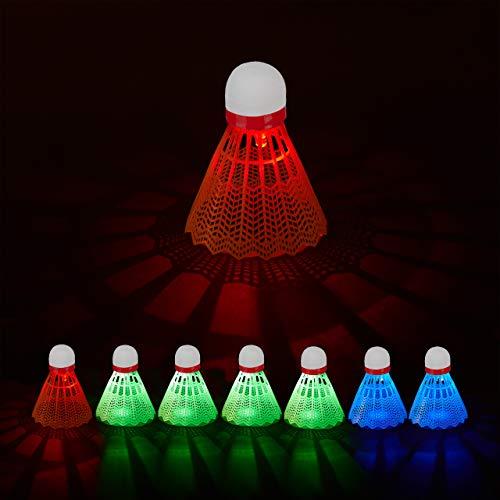 Relaxdays LED Federball im 8er Set, leuchtende Badmintonbälle in grün, blau, rot, für In- & Outdoor, HxD: 8x6,5 cm, weiß
