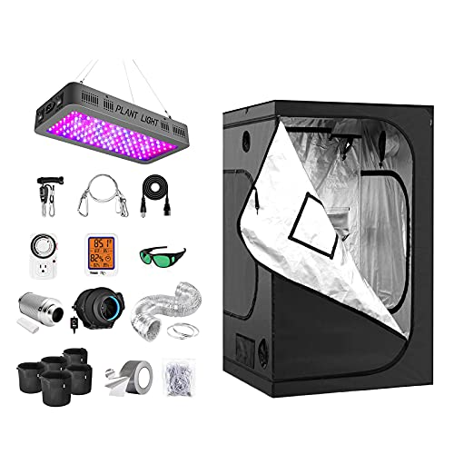 """iPower Grow Tent Kit Complete A2300C Full Spectrum LED Plant Light Lamp Indoor Hydroponics 48""""x48""""x78"""" Greenhouse Combo with 6"""" Fan Filter Ventilation, System Setup Package for Veg Flower"""