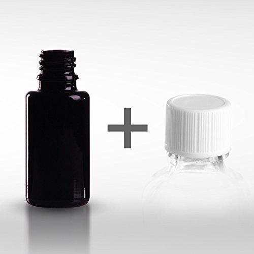 5 x Violettglasflaschen 20 ml inkl. Standard-Schraubverschluss DIN 18 - Mironglas - Violettglasflasche - Apothekerflasche