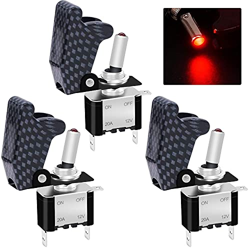 Twidec/3Pcs Rocker Toggle Switch 12V 20A Heavy Duty Racing Car Automative Auto SPST ON/Off Toggle Switch Red LED Light Illuminated 3Pin with Charcoal Grey Waterproof Safety Cover ASW-07DRHMZ