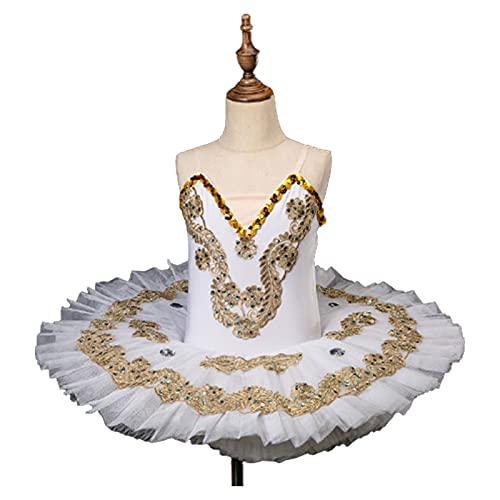 BBOOY Disfraz de Lago de los cisnes de Bailarina para nias, Faldas de tut de Leotardo de Lentejuelas, Ropa de Baile de Fiesta de Cisne Blanco,Blanco,100cm