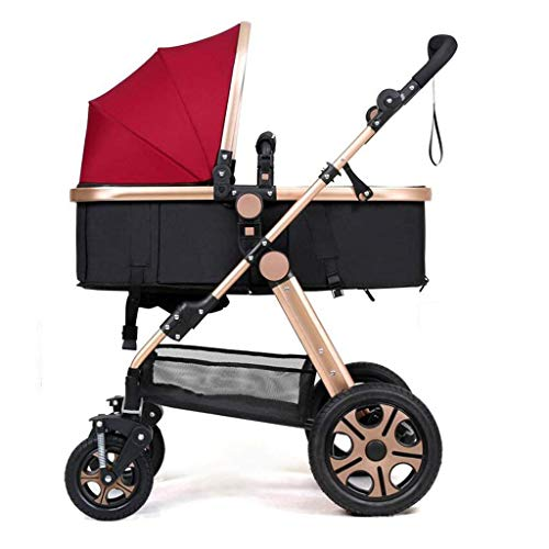 L&WB 3-in-1-High-Landschaft-Kinderwagen Sitting Umbrella Horizontal Faltbare tragbare bidirektionale 4-Rad-Kissen neugeborenen Vier Jahreszeiten Reisen Universal Shade Optional 4 Farben,Red