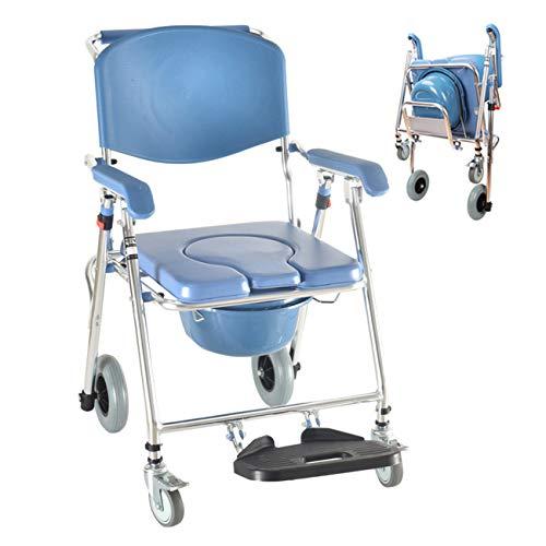 FXYY Douchestoel commode op bed transport rolstoel badstoel draagbaar opvouwbaar toilet waterdichte medische rolstoel met douche