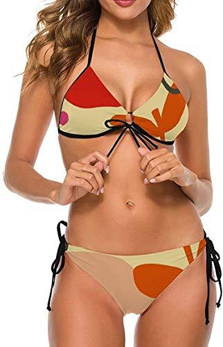 my cat Damen Bikinis Set Krawatte Badeanzug Schmeichelhaftes Schwimmkostüm Tropischer Regenwald Orange Botanisches Dreieck Bikini-Tropi1-XX-Large