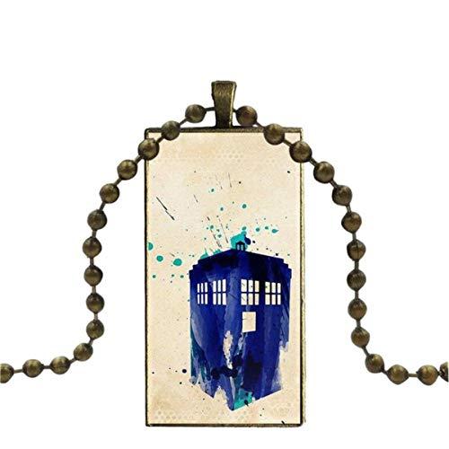 SYSFOUR Para las mujeres regalos niño bronce color cristal cabujón con rectángulo en forma de colgante gargantilla collar I Am Doctor Who Tardis