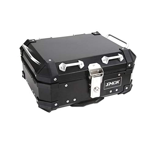 Baul Case para De Equipaje Trasero Superior De Motocicleta 28L Caja De Casco para Maletero Accesorios De Almacenamiento Aluminio Universal Impermeable (Color : Negro)