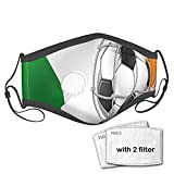 2021 Trends Sports Theme Soccer Ball in A Net Game Goal with Ireland National Flag Victory Win Windproof Face Mask,Reusable,Washable Cloth,Face Cover