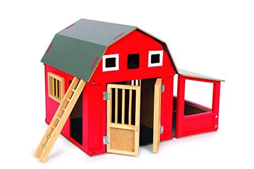 small Foot 8555 Holzscheune Alabama, roter Holzstall mit abnehmbaren Dach, Bauernhof-Zubehör, Maße ca. 32x24x25cm