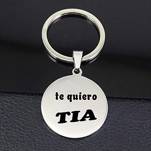 TUDUDU Te Quiero Tia Schlüsselanhänger Neue Ankunft Brief Scheibe Schlüsselanhänger Frauen Schmuck Für Tante Drop Versand