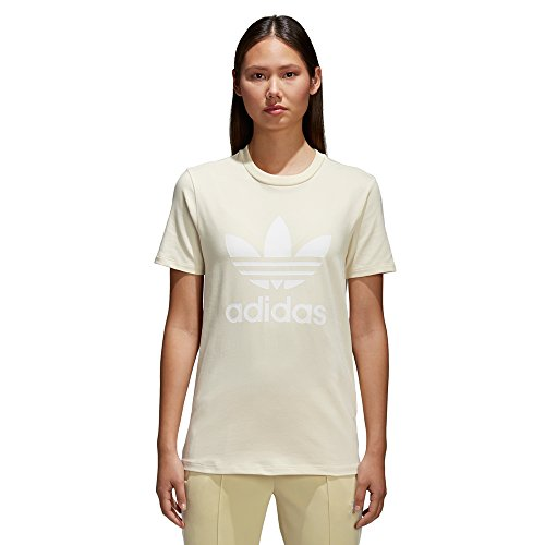 adidas Damen Trefoil Tee T-Shirt, Beige (Missun/White), D38