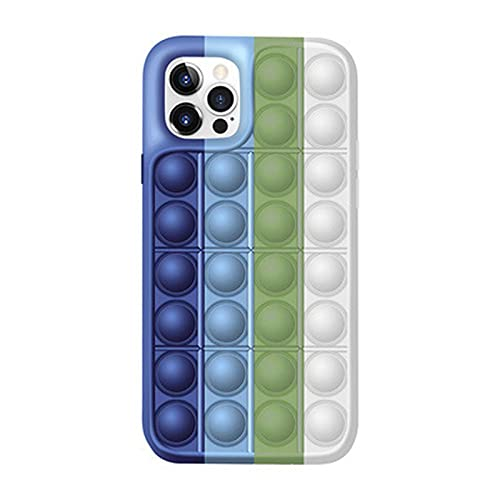 WDL Push Pop Blase Time Spielzeug Telefon Fall 3D Weiche Silikon Rainbow Fall Release Stress Ganzkörper Schutz Stoßfest Decke Für iPhone (Regenbogen) Multi-Colored-for iPhone XS MAX