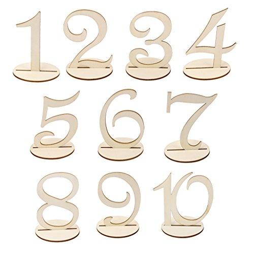 MagiDeal MDF-Holz 10cm Tischnummern 1-10 Basis-Set Hochzeit Geburtstagsparty Französisch