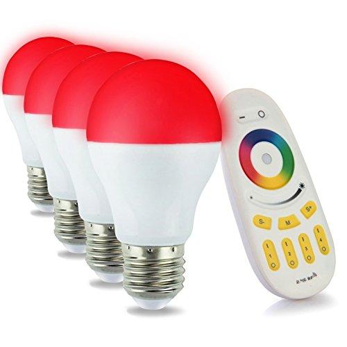 LIGHTEU, 4 x WiFi Ampoule LED, 6W, E27, Multicolore RGB blanc chaud à intensité variable avec télécommande 4 zones [Classe énergétique A+]
