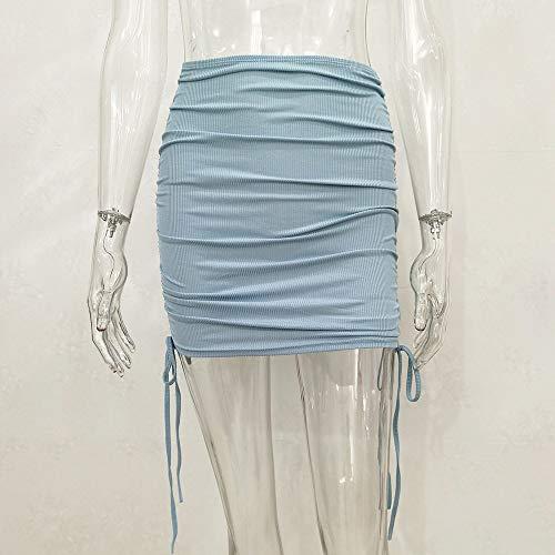 FDJIAJU Falda para Mujer,Ladies' Sexy Estiramiento Mini Falda Bodycon Tubo Falda Cordón Todo-Match Bolsa Falda De Cadera Falda Corta para Party Club Streetwear, Grande