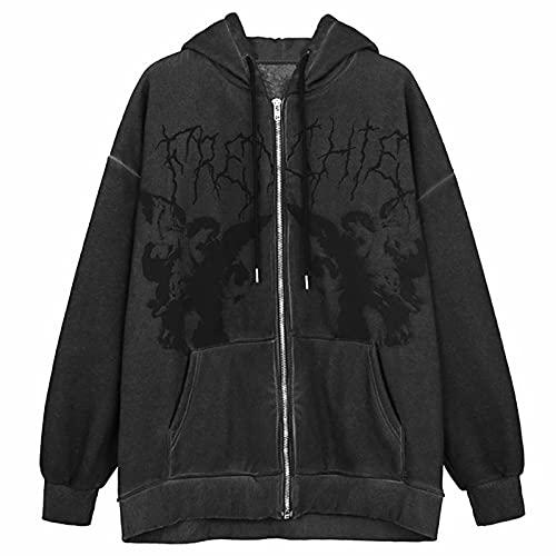 SHOPESSA Gothic Zip Up Hoodies for Women Skeleton Oversized Hoodie Sweatshirt with Drawstring Zip Up Y2K Hooded Coats Dark Gray