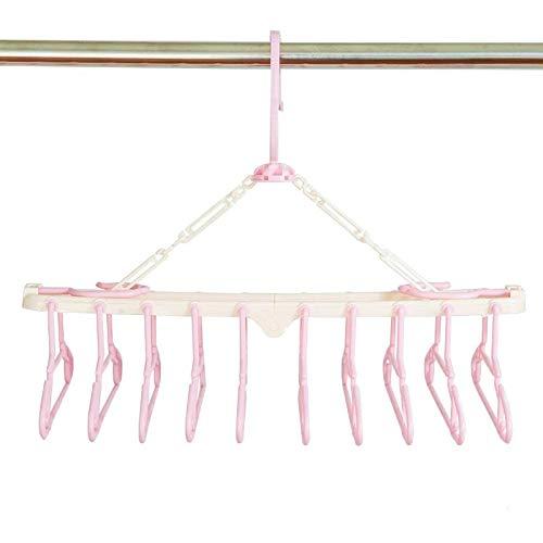 Sutekus赤ちゃん10連ハンガー キッズ ベビーハンガー ハンガーラック 洗濯ハンガー 折り畳み 取り外し10連ハンガー (ピンク)