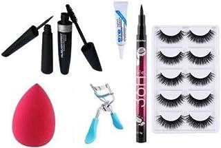 ClubComfort® Combo of Mascara,Eyeliner,Glue,Beauty Blender,Eyelash Curler, 5 pair Eyelash (11 Items in the set)