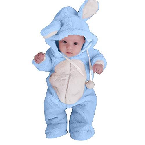 0-2 Years,SO-buts Newborn Baby Boys Girls Winter Cute Ear Fleece Jumpsuit Romper Warm Outwear Autumn Winter Flannel Romper Coat (Light Blue, 0-6 Months)