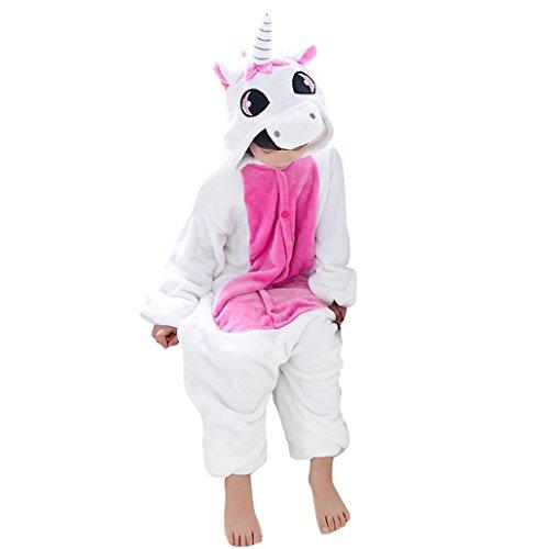 Happy Cherry - Pijama Ropa de Dormir de Franela Disfraz de Animal Unicornio Para Niños Niñas - Rosa - Talla 125