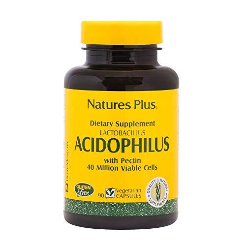 NaturesPlus Acidophilus - 40 Million CFU Lactobacillus Acidophilus, 90 Vegetarian Capsules - Probiotic Supplement with Pectin, Supports Healthy Digestion - Gluten-Free - 90 Servings