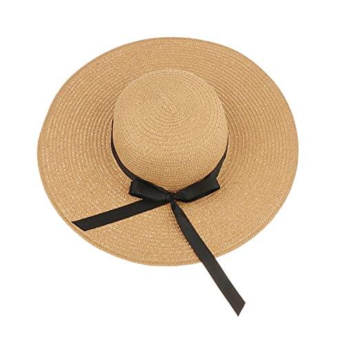 FITYLE Sombrero de paja de ala ancha protección solar para mujer, sombrero flexible plegable, gorra de playa de protección UV de verano sombreros enrollables - Caqui