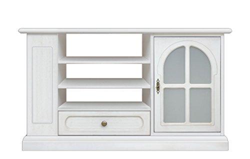 Arteferretto Meuble TV de Style Classique laqué Blanc avec Porte vitrée, tiroir et rayonnage de Rangement latéral