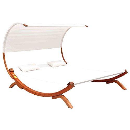 Outsunny Hammock Chaise Wooden Double Sun Lounger