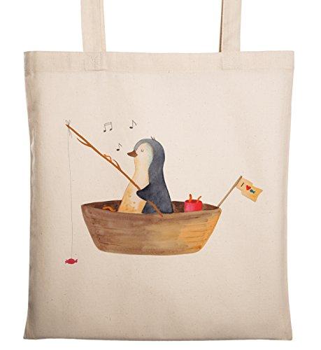 Mr. & Mrs. Panda Einkaufstasche, Stofftasche, Tragetasche Pinguin Angelboot - Farbe Transparent