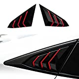 XHQ for Honda Civic 10th Gen Sedan Rear Window Louver Shutter Cover Trim Fit Civic 2016-2021 Sedan Car Side Window Louvers Air Vent Scoop Shades Cover Accessories Decoration(Bright Black RED)