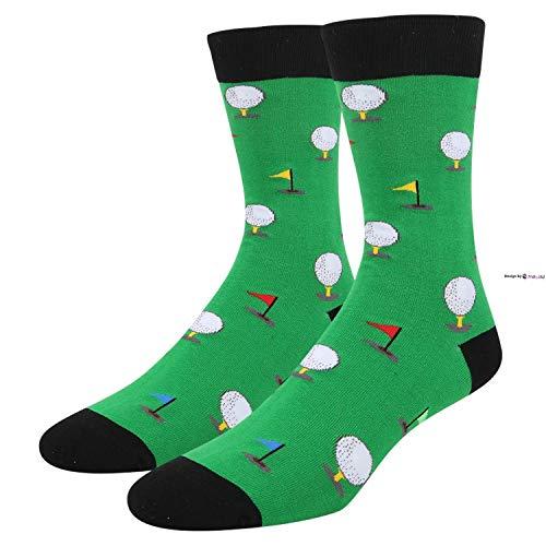 Eletina Twinkle Lustige Socken für Golfer Rugby Billard Fußball Gaming Casual Crew Sportsocken für Herren, Unisex, 1 Packung schwarze Golfschläger., Einheitsgröße