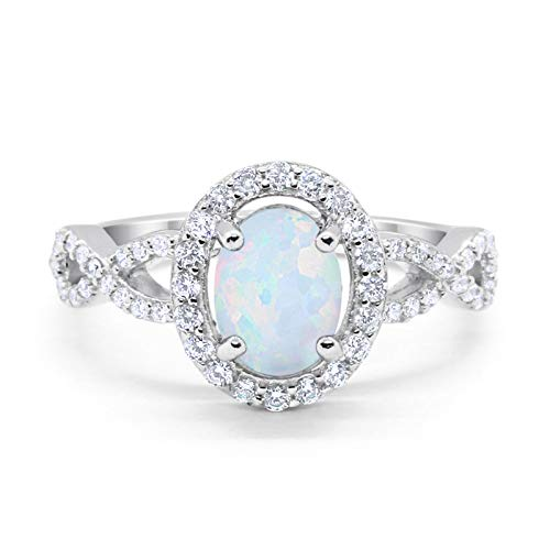 Infinity Art Deco Halo Wedding Engagement Bridal Ring Oval Created White Opal Round Cubic Zirconia Solid 925 Sterling Silver, Size-7